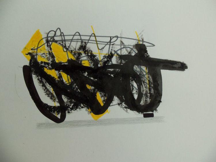 Gelb, Abstrakt, Grau, Expressionismus, Schwarz, Malerei