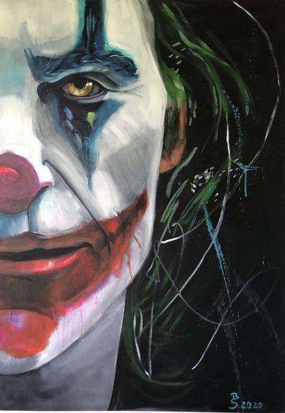 Menschen, Acrylmalerei, Böse, Bunt, Joker, Person