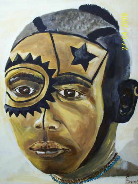 Nuba, Portrait, Kopf, Acrylmalerei, Malerei