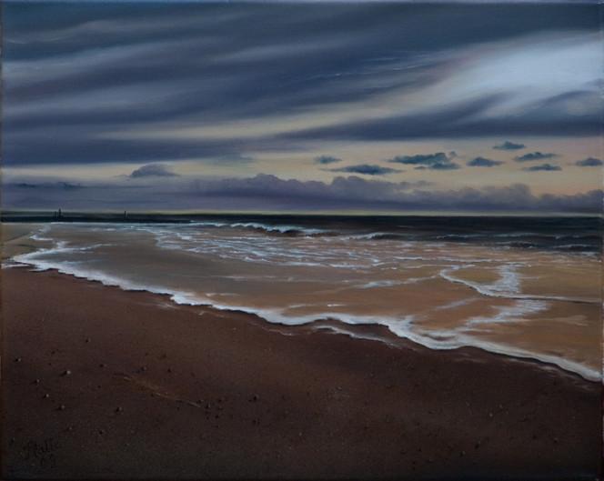 Gischt, Sand, Wolken, Grog, Strand, Abend