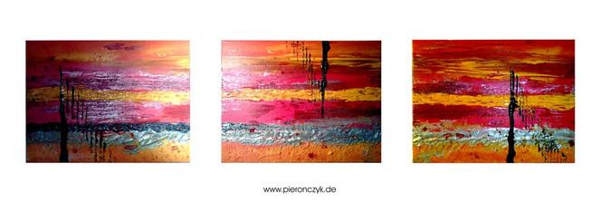 Orange, Abstrakt, Acrylmalerei, Tripichon, Rot, Warm