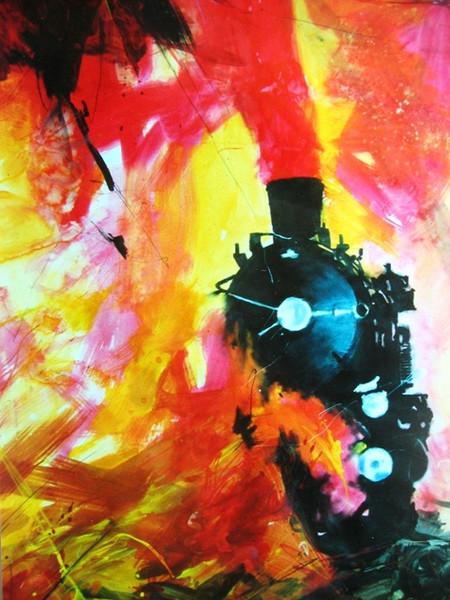 Dampflok, Kind, Ostfriesland, Malerei, Surreal, Augen