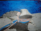 Urlaub, Wasser, Acrylmalerei, Poller