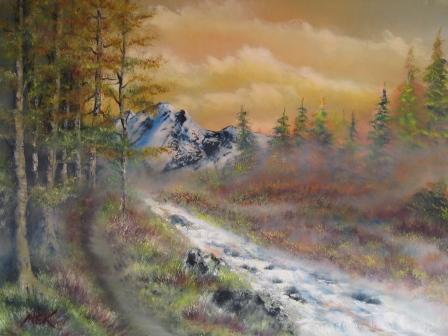 Morgenröte, Wald, Waldbach, Ölmalerei, Malerei, Erinnerung