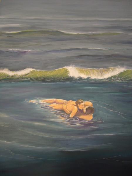 Meer, Nordsee, Liebespaar, Welle, Acrylmalerei, Malerei