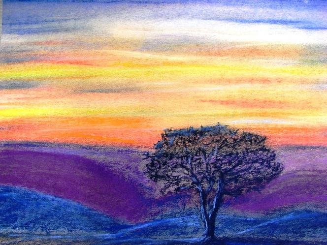 Abend, Weite, Baum, Zeichnungen, Nacht