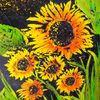 Sonnenblumen, Nacht, Malerei, Pflanzen