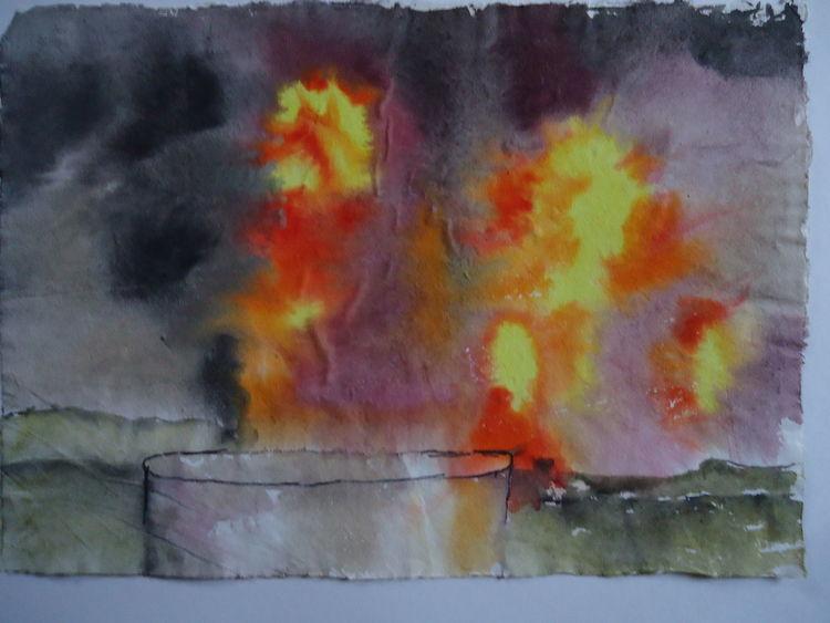 Ineos, Explosion, Worringen, Aquarell, 2008