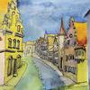 Dillingen, Straße - Dillingen, Donau, Ries, Bayern, Aquarell