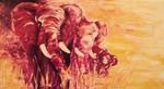 Acrylmalerei, Rot, Elefant, Savanne
