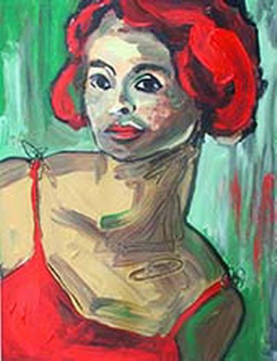 Gesicht, Lang, Frau, Portrait, Künstlersiedlung, Menschen