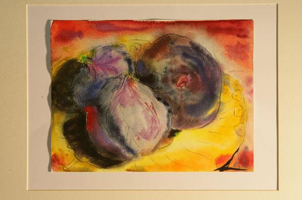 Aquarellmalerei, Feige, Lebensmittel, Obst, Geschirr, Stillleben