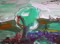 Acrylmalerei, Einzelstück, Landschaft, Baum, Farben, Morgen