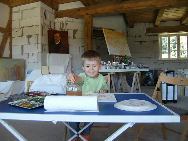 Malschule, Malerei, Junge, Pinsel, Kind, Farben