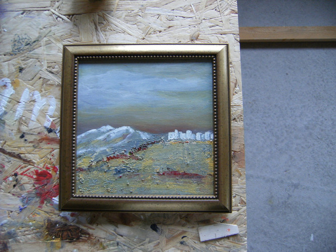 Acrylmalerei, Haus, Meer, Felsen, Mischtechnik, Sonne