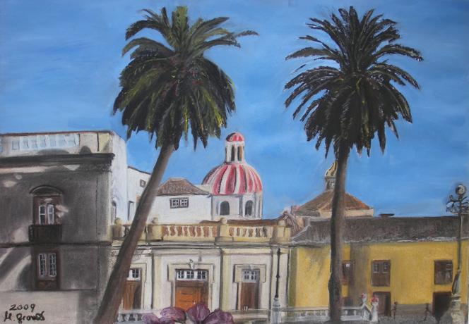 Häuser, Sonne, Fassade, Kirche, Stadt, Palmen