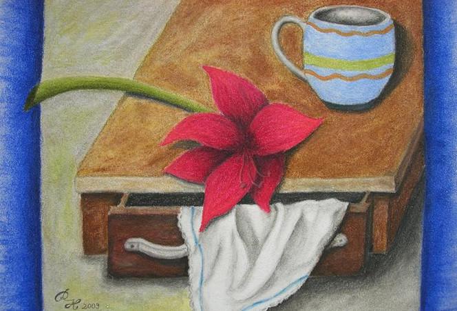 Stillleben, Tuch, Blumen, Zeichnung, Pastellmalerei, Zeichnungen