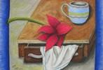 Pastellmalerei, Stillleben, Tuch, Blumen