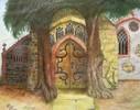 Baum, Kirche, Zeichnungen