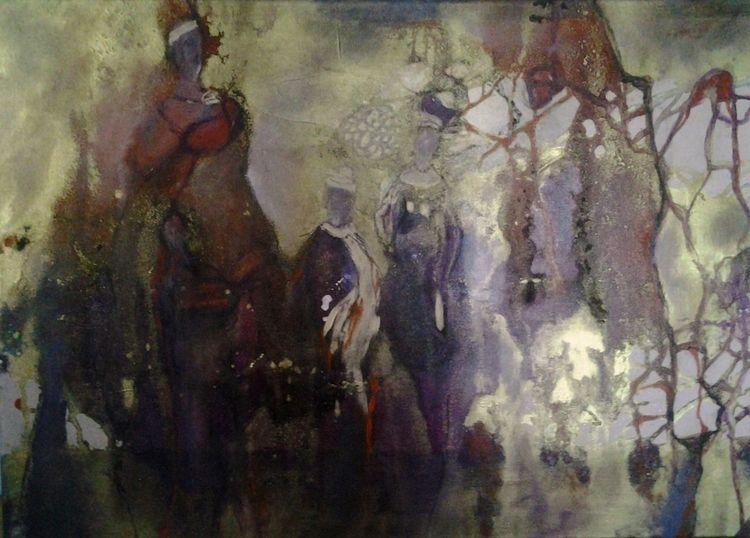 Menschen, Rot, Mittelalter, Gold, Lila, Malerei