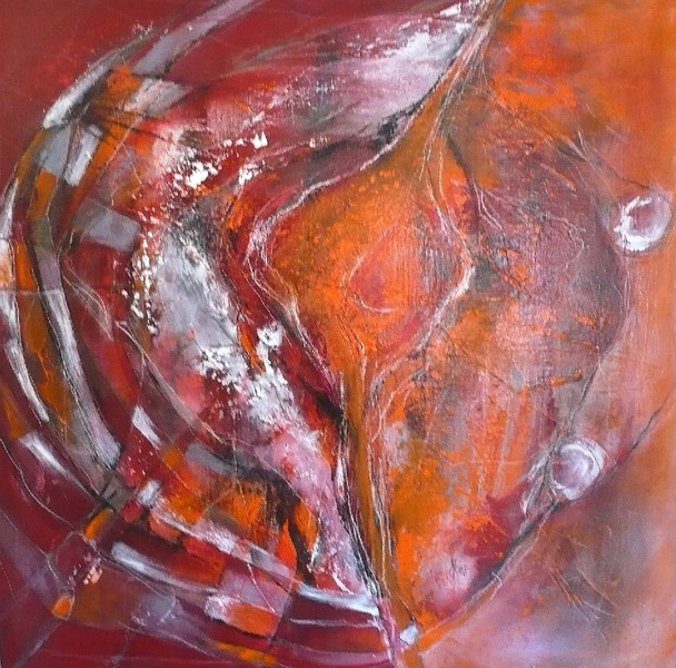Energie, Abstrakt, Bewegung, Kreis, Malerei, Orange