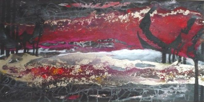 Silber, Rot schwarz, Baum, Garten eden, Landschaft, Abstrakte landschaft
