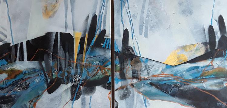 Linie, Reiher, Baum, Abstrakte malerei, Stein, Landschaft
