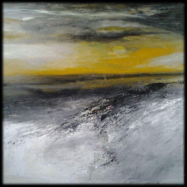 Ebene, Gelb, Acrylmalerei, Abstrakte malerei, Mischtechnik, Landschaft
