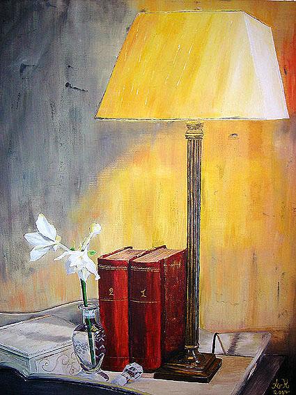Stillleben, Lampe, Pflanzen, Leben, Vase, Blumen