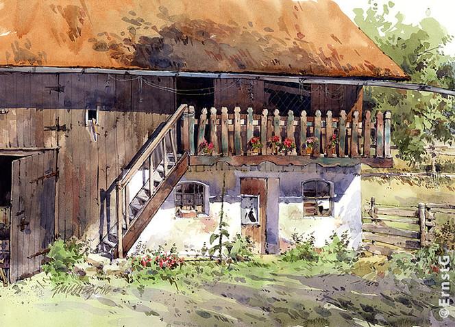 Gebäude, Aquarellmalerei, Bauernhof, Landschaft, Aquarell