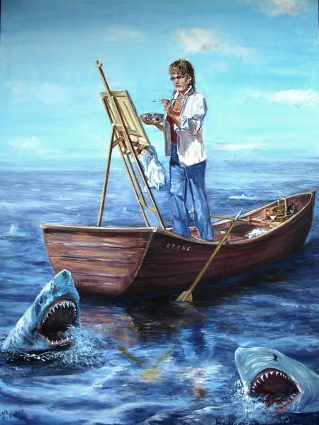 Malerei, Arche, Boot, Malen, Meer, Surreal