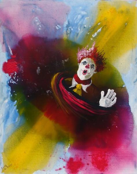 Wirtschaftskrise, Deutschland, Clown, Humor, Narr, Malerei