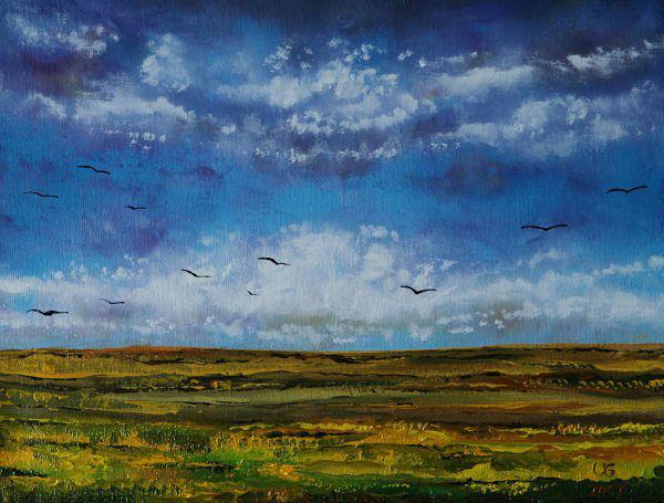 Naturlandschaft, Feld, Wiese, Wolken, Malerei, Rückzug