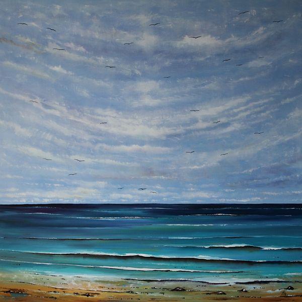 Meer, Himmel, See, Seelandschaft, Wolken, Malerei
