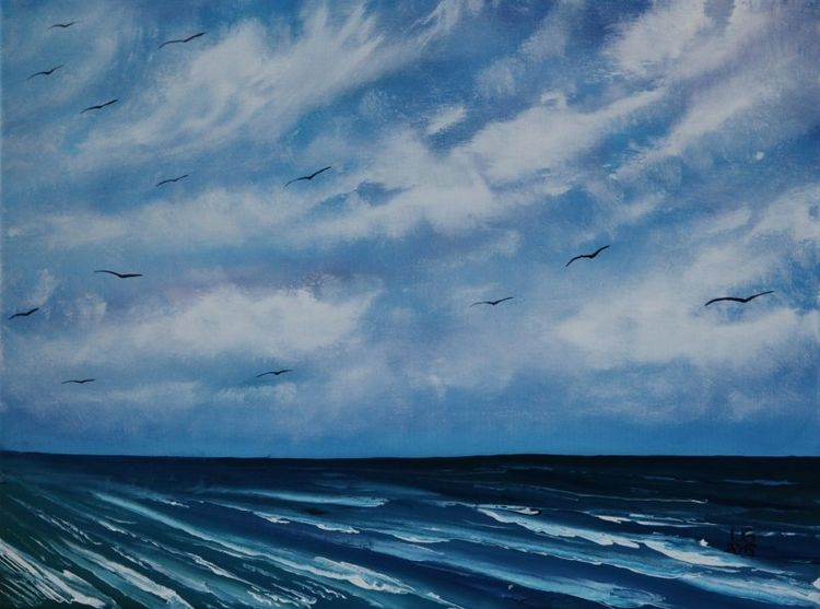 Seelandschaft, Wolken, Meer, See, Malerei, Gemälde