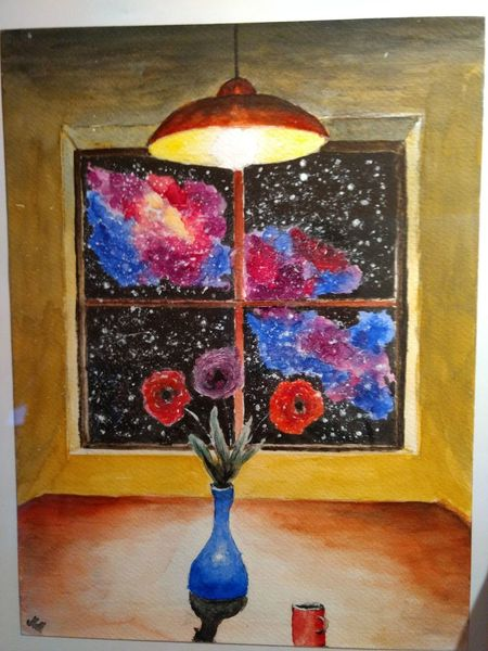 Zimmer, Fenster, Stern, Nebel, Universum, Mischtechnik
