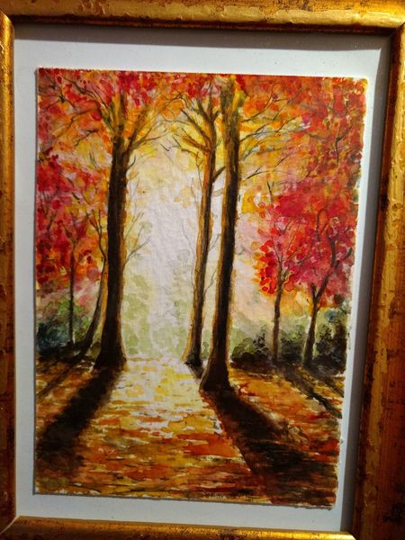 Herbst, Sonne, Wald, Laub, Licht, Aquarell