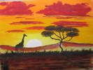 Sonnenuntergang, Savanne, Giraffe, Malerei