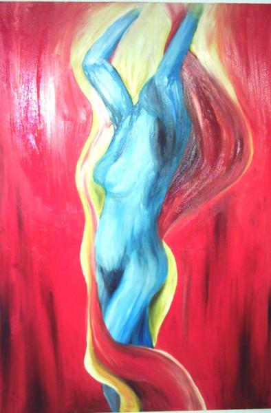 Freiheit, Ölmalerei, Reizvoll, Frau, Sinnlichkeit, Rot