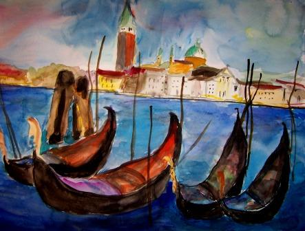 Lagune, Venedig, Wasser, Gondel, Malerei