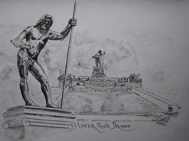 Brücke, Tusche, Aquarellmalerei, München, Vater, Zeichnung