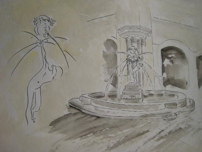 Eck, Ölmalerei, Brunnen, Karlstor, Acrylmalerei, Brunnenbüberl