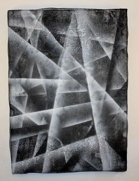 Metall, Abstrakt, Tusche, Lack, Draht, Malerei