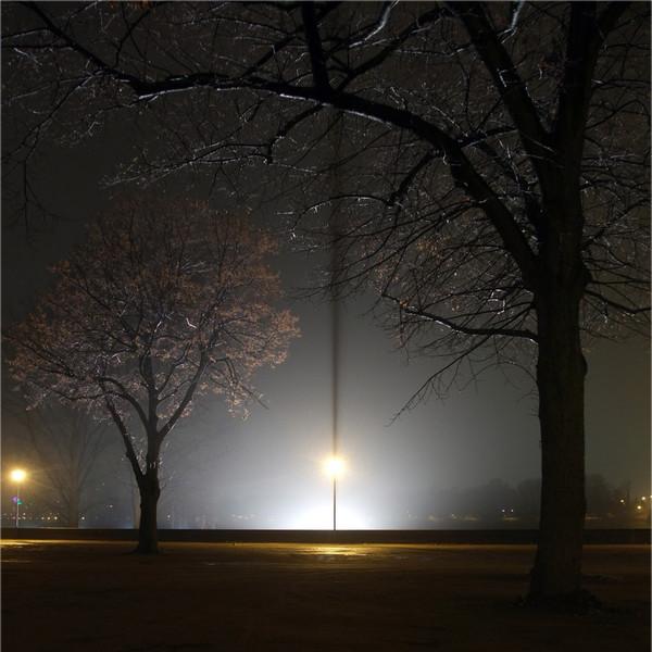 Nacht, Fantasie, Nebel, Baum, Laterne, Winter