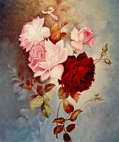 Arbeit, Malerei, Stillleben, Bleu, Pink,
