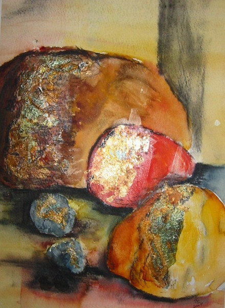 Gold, Herbst, Kürbisse, Malerei