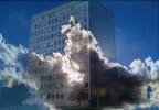 Justiz, Hochhaus, Wolken, Digitale kunst