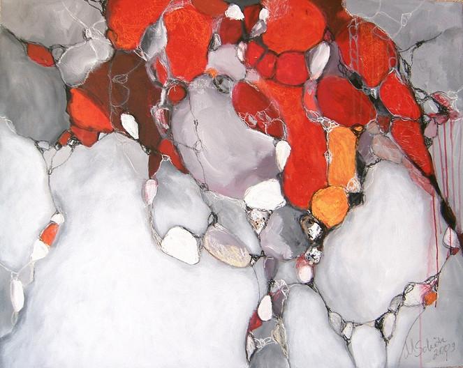 Stein, Abstrakt, Margarita schoen, Orange, Acrylmalerei, Weiß