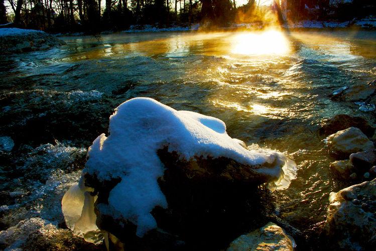 Winter, Fluss, Stein, Baum, Licht, Früh