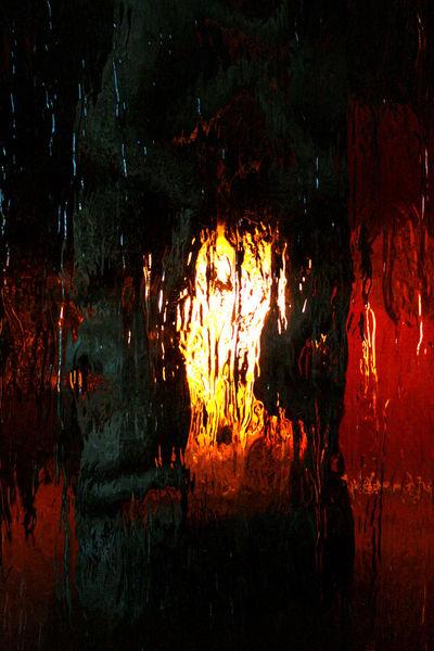 Skulptur, Holz, Glas, Licht, Fotografie, Innere